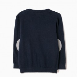 NAVY BLUE KNITTED COAT