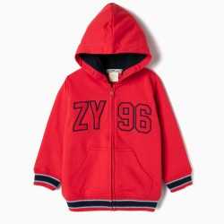 BOYS 'ZY 96' HOODED COAT, RED