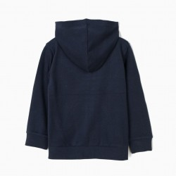 BOYS 'ZY' HOODED COAT, DARK BLUE