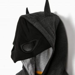 'BATMAN' MASK HOODED SWEATSHIRT, GRAY