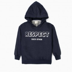 'RESPECT' HOODED BOY SWEATSHIRT, DARK BLUE