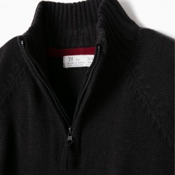 NAVY BLUE KNITTED SWEATER WITH HALF-ZIP