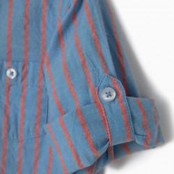 BOY'S SHIRT 'B&S' WITH MANDARIN COLLAR, BLUE