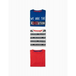 3 BOYS 'MAKE A DIFFERENCE' T-SHIRTS, MULTICOLOR