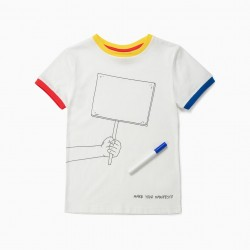 'MAKE YOUR MANIFESTO' BOY T-SHIRT, WHITE