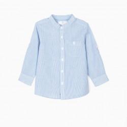 STRIPED MAO COLLAR BABY BOY SHIRT, BLUE