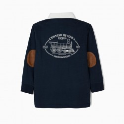 BOYS POLO 'VINTAGE TRAIN', BLUE AND RED