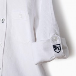 BOY'S SHIRT WITH MAO NECK, WHITE