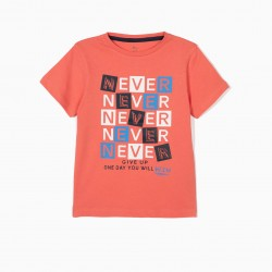 'NEVER GIVE UP' T-SHIRT FOR BOYS, CORAL