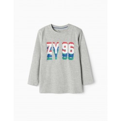 LONG SLEEVE T-SHIRT FOR BOYS 'ZY 96', GRAY