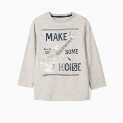 LONG SLEEVE T-SHIRT FOR BOY 'NOISE', GRAY