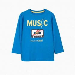 LONG SLEEVE T-SHIRT FOR BOY 'MUSIC', BLUE