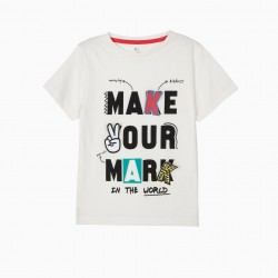 'MAKE YOUR MARK' BOY T-SHIRT, WHITE