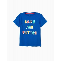 SAVE THE FUTURE T-SHIRT FOR BOYS, BLUE