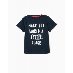 BETTER PLACE T-SHIRT FOR BOYS, DARK BLUE