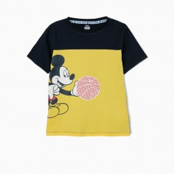 'MICKEY BASKETBALL' T-SHIRT FOR BOYS, YELLOW AND BLUE