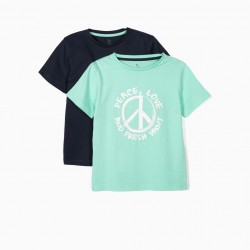 2 T-SHIRTS FOR BOYS 'PEACE, LOVE & FRESH PAINT', GREEN AND BLUE