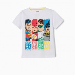 JUSTICE LEAGUE T-SHIRT FOR BOYS, WHITE