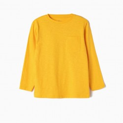 LONG SLEEVE T-SHIRT FOR BOYS, YELLOW