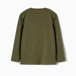 LONG SLEEVE T-SHIRT FOR BOYS, GREEN