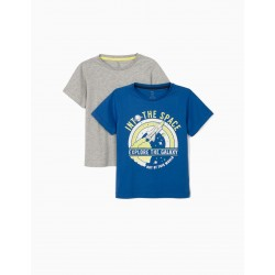 2 'EXPLORE THE GALAXY' T-SHIRTS FOR BOYS, BLUE / GRAY