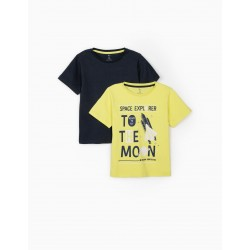 2 T-SHIRTS FOR BOYS 'SPACE EXPLORER', LIME YELLOW / DARK BLUE
