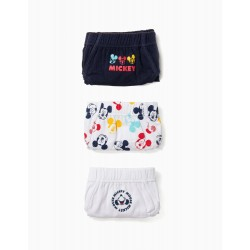 PACK 3 BOYS 'MICKEY' BRIEFS, WHITE AND BLUE