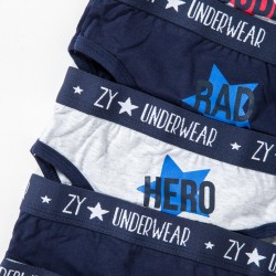 7 'ZY', GRAY AND DARK BLUE BOYS BRIEFS