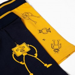 PACK 2 BOXERS FOR BOYS 'ROBOTS', BLUE AND YELLOW