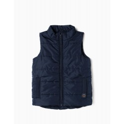 QUILTED VEST FOR BABY BOY, DARK BLUE
