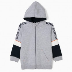 'DON'T NEED BAD VIBES' BOYS HOODED JACKET, GRAY