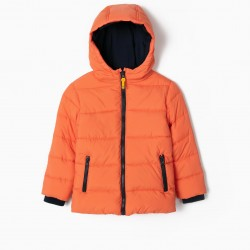 QUILTED JACKET FOR BOYS, ORANGE