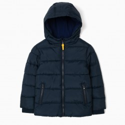 QUILTED JACKET FOR BOYS, DARK BLUE