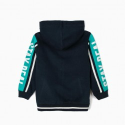 HOODED JACKET FOR BOYS 'STAY REAL', BLUE