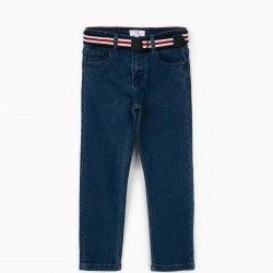 JEANS WITH BELT FOR BOYS, BLUE