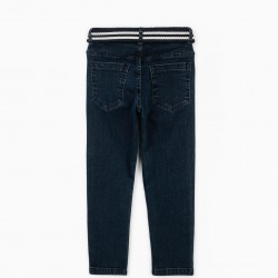 JEANS WITH BELT FOR BOYS, DARK BLUE