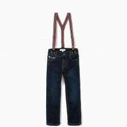 JEANS WITH BRACES FOR BOYS, DARK BLUE