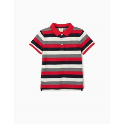 STRIPED POLO FOR BOYS, BLUE / WHITE / RED