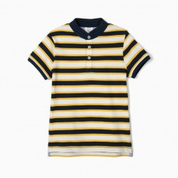 BOY'S POLO WITH MAO COLLAR AND STRIPES, BLUE AND YELLOW