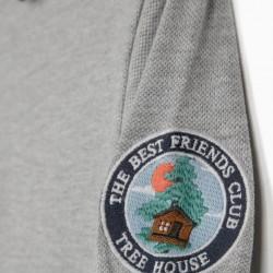 LONG SLEEVE PIQUÉ POLO FOR BOYS 'TREE HOUSE', GRAY / DARK BLUE