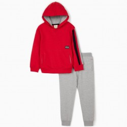 'ZY 1996' TRACKSUIT FOR BOYS, RED / GRAY