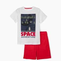 SPACE ADVENTURE T-SHIRT AND SHORTS FOR BOYS, WHITE / RED