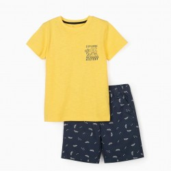 EXPLORE 'YELLOW' T-SHIRT AND SHORTS FOR BOY