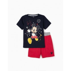 'MICKEY SPACE' T-SHIRT AND SHORTS FOR BOYS, DARK BLUE / RED