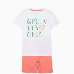 GREEN VIBES ONLY T-SHIRT AND SHORTS FOR BOYS, WHITE AND CORAL