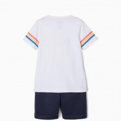 'SILVESTER & TWEETY' T-SHIRT AND SHORTS FOR BOYS, WHITE AND BLUE