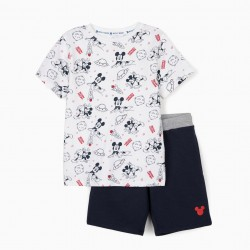 'MICKEY SPACE' T-SHIRT AND SHORTS FOR BOYS, WHITE / DARK BLUE