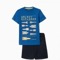BOYS 'GALAXY EXPLORER' T-SHIRT AND SHORTS, BLUE