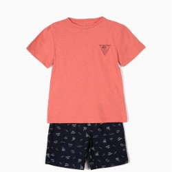 'SUMMER TIME' T-SHIRT AND SHORTS FOR BOYS, CORAL AND BLUE