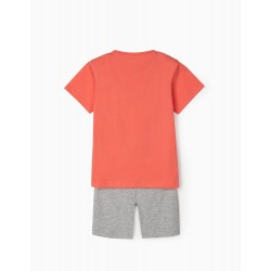 BOYS 'DINOSAURS' T-SHIRT AND SHORTS, CORAL / GRAY